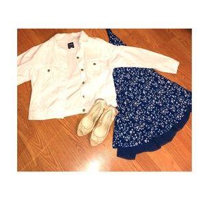 White jean jacket & navy blue and white sundress